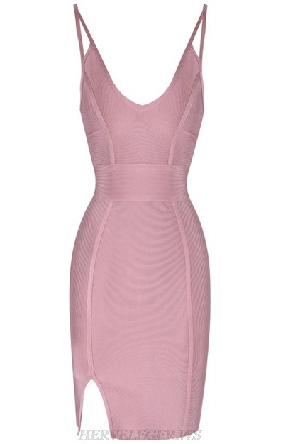 Herve Leger Dusty And Pink Cut Out Strap Bandage Dress