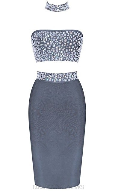Herve  Leger Grey Strapless Embellished Two Piece Bandage Dress