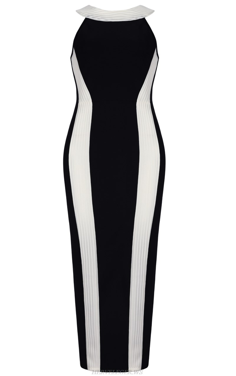 Herve  Leger Black And White Halter Monochrome Gown