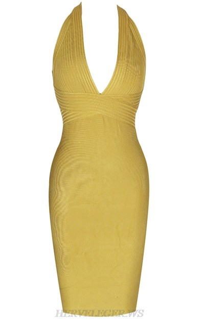 Herve  Leger Mustard Halter Ribbed Deep V Neck Bandage Dress