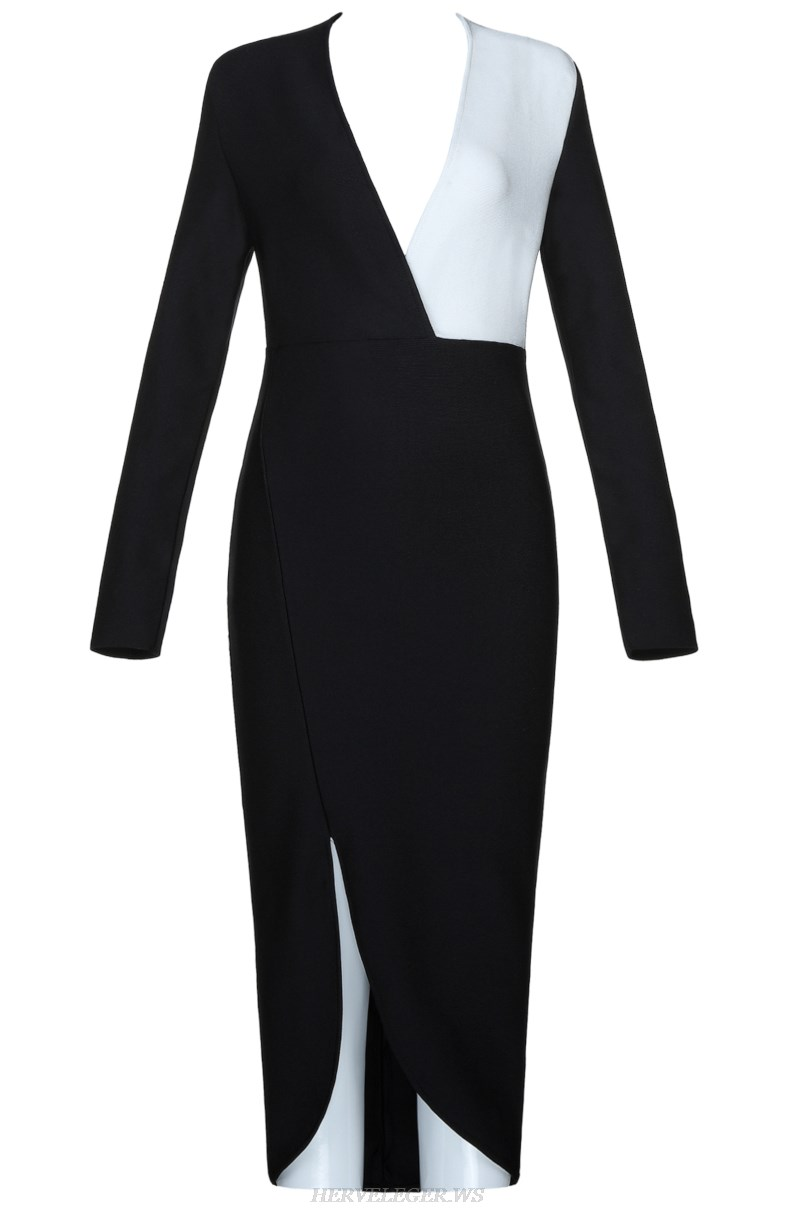 Herve  Leger Black And White V Neck Long Sleeve Asymmetric Bandage Dress