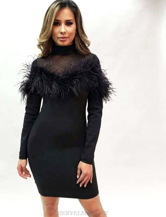 Herve Leger Black Long Sleeve Feather Bandage Dress