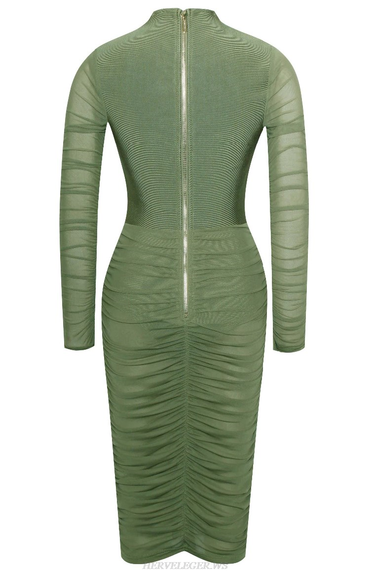 Herve  Leger Green Long Sleeve Gathered Mesh Bandage Dress