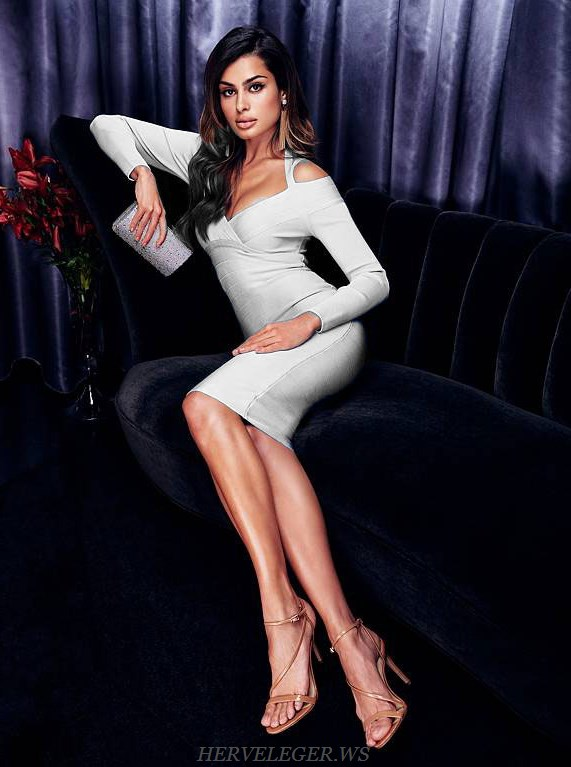 Herve  Leger White Long Sleeve Halter Bardot Bandage Dress
