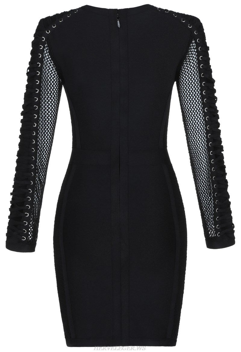 Herve  Leger Black Long Sleeve Lace Up Bandage Stars Dress