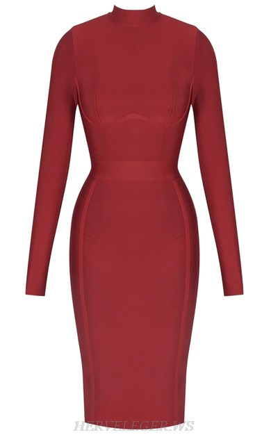 Herve Leger Burgundy Long Sleeve Bandage Dress