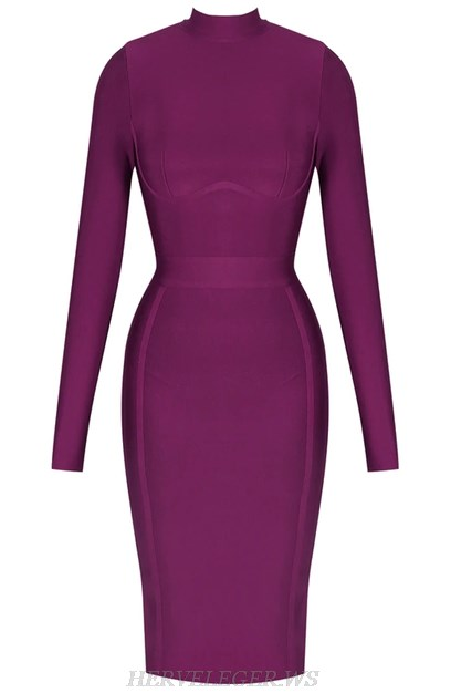 Herve Leger Purple Long Sleeve Bandage Dress