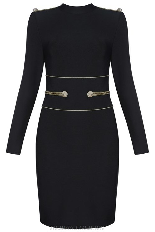 Herve  Leger Black Long Sleeve Officer Bandage Dress