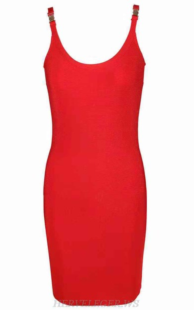 Herve  Leger Red Strapless U Neck Bandage Dress