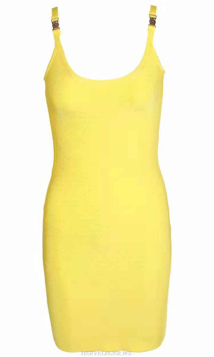 Herve  Leger Kim Kardashian Yellow Bandage Stars Dress