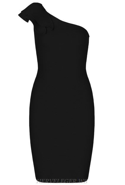 Herve  Leger Black One Shoulder Frill Bandage Dress