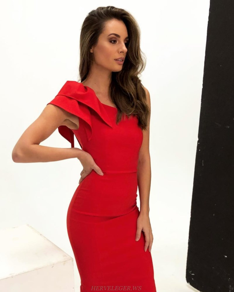 Herve  Leger Red One Shoulder Frill Bandage Dress