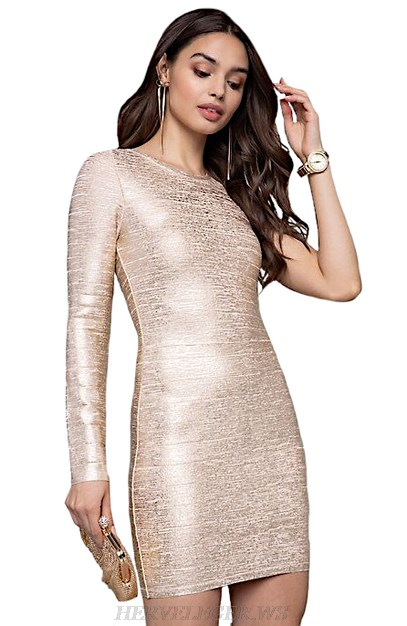 Herve Leger Gold One Sleeve Woodgrain Foil Print Bandage Dress