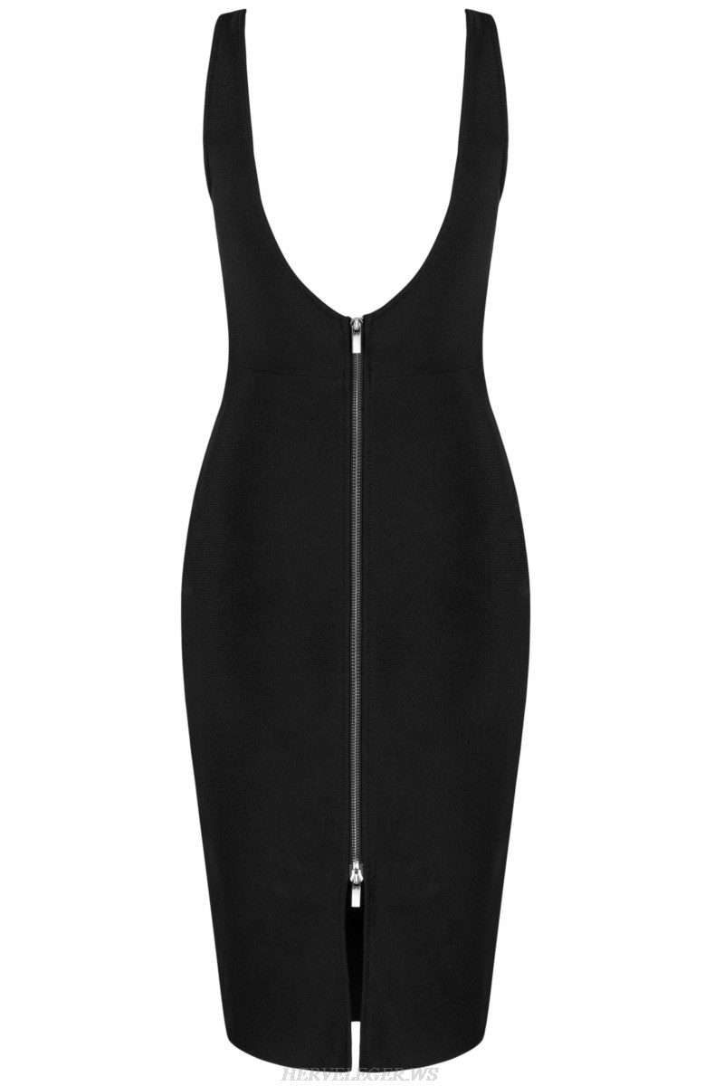 Herve  Leger Black Plunge V Neck Bandage Stars Dress