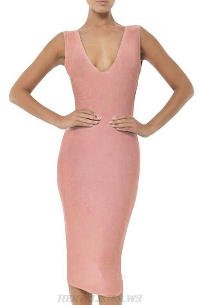 Herve Leger Dusty And Pink Plunge V Neck Bandage Dress