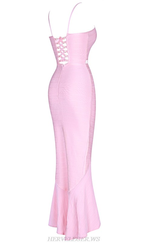 Herve  Leger Pink V Neck Strappy High Low Fluted Gown