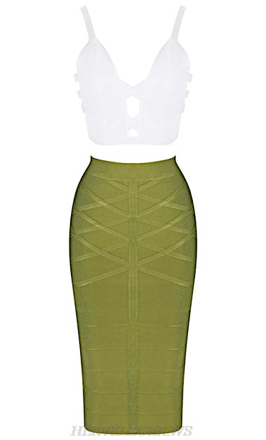 Herve  Leger White And Green Strappy Two Piece Bandage Dress
