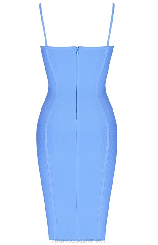 Herve  Leger Blue Structured Bustier Bandage Dress