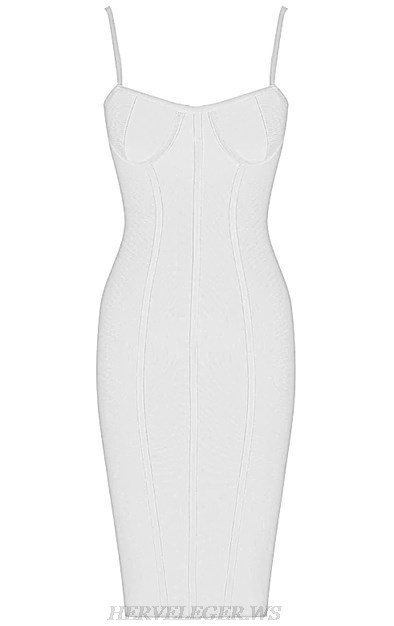 Herve  Leger White V Neck Structured Bustier Bandage Dress