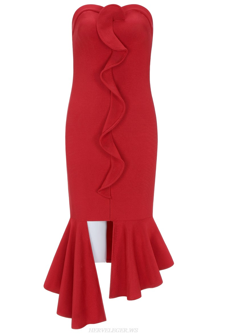 Herve Leger Red Bandeau Frill Bandage Dress