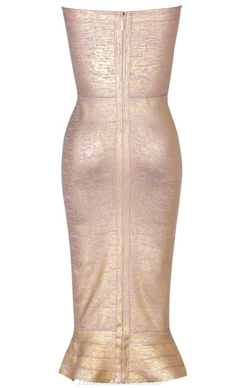 Herve Leger Gold Bardot Fluted Woodgrain Foil Print Bandage Dress