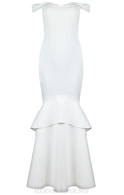 Herve Leger White Bardot Frill Gown