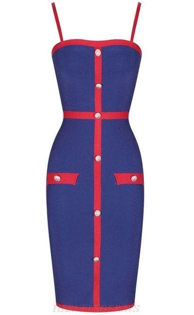 Herve Leger Blue Red Button Bandage Dress