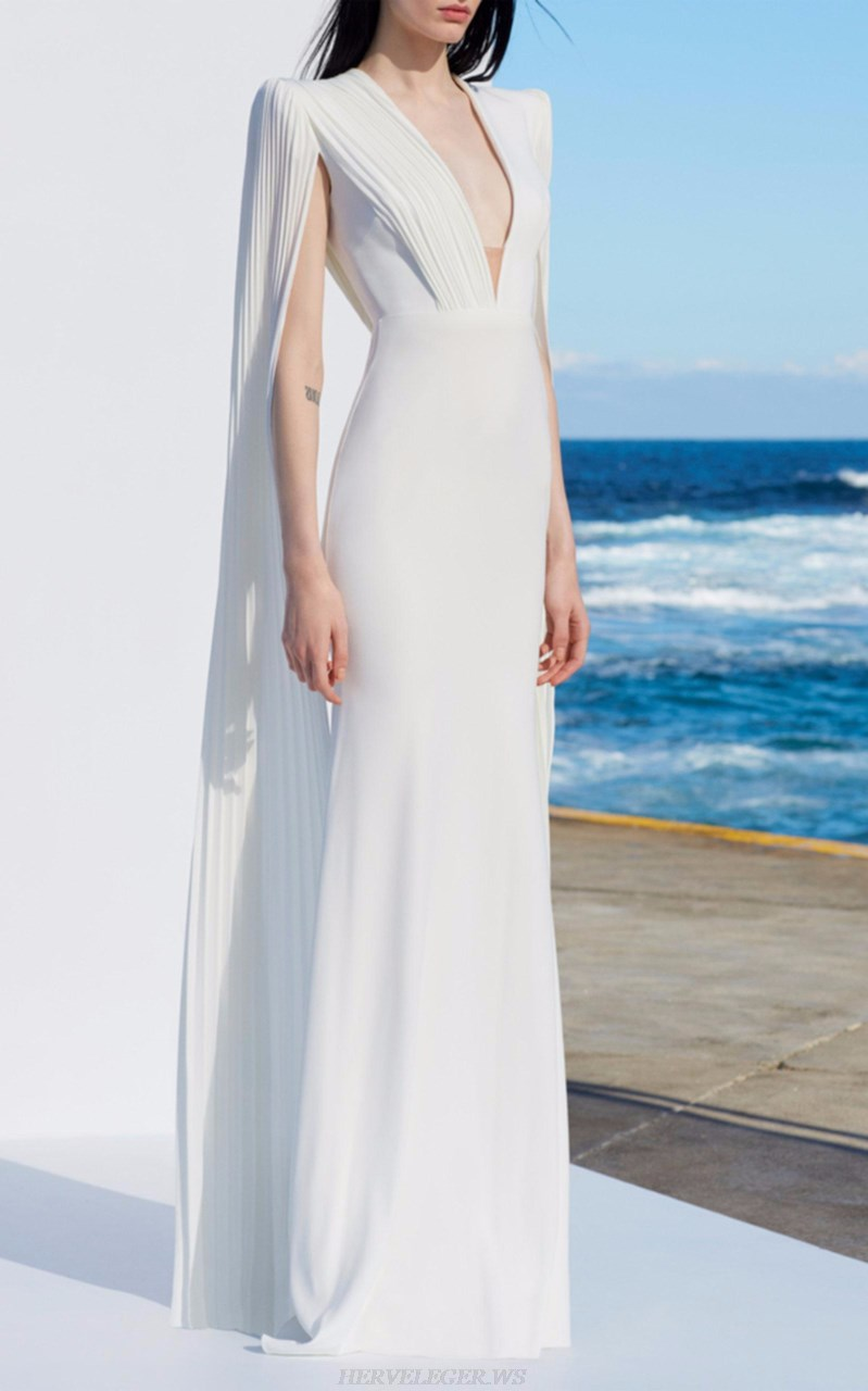 Herve Leger White Cape Sleeve Plunge Gown
