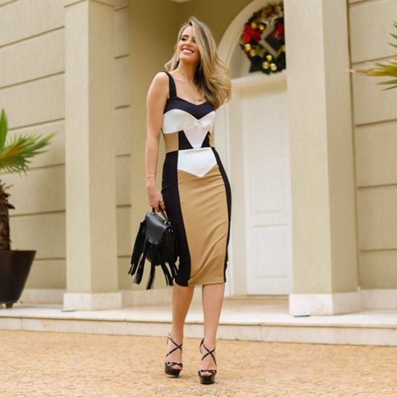 Herve Leger Black And White Mustard Colorblock Bandage Dress