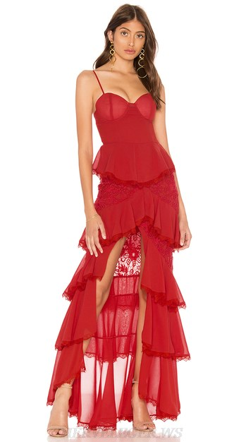 Herve Leger Red Lace Frill Gown
