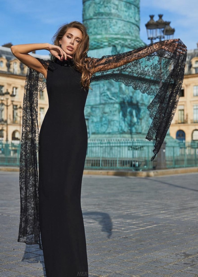 Herve Leger Black Lace Long Sleeve Gown