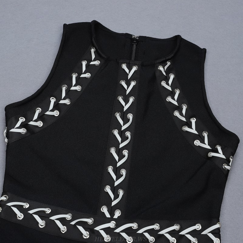Herve Leger Black And White Lace Up Bandage Dress