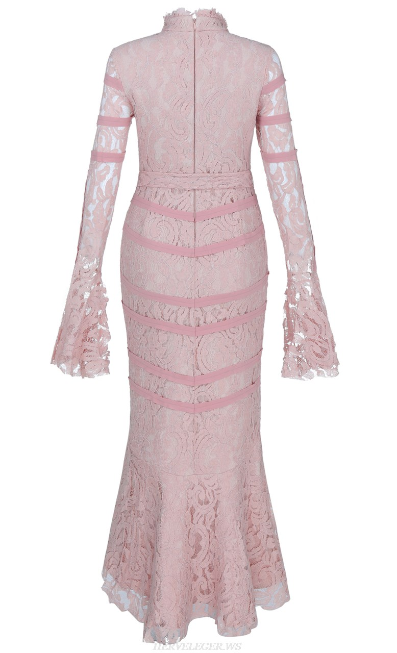 Herve Leger Pink Long Sleeve Fluted Lace Bandage Dress