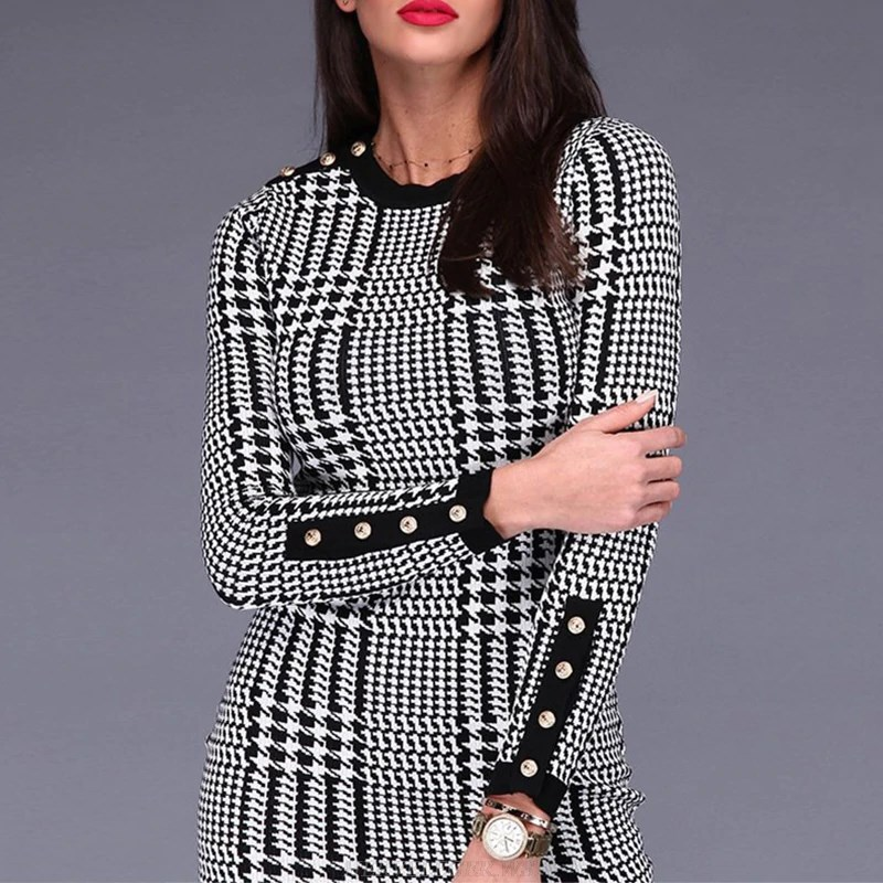 Herve Leger Black And White Long Sleeve Houndstooth Print Bandage Dress