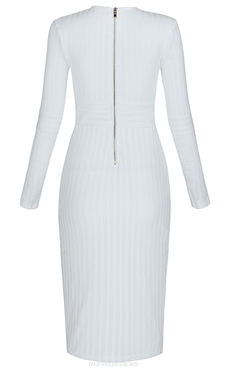 Herve Leger White Long Sleeve Plunge Bandage Dress