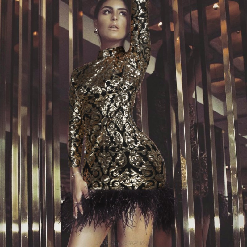 Herve Leger Gold Long Sleeve Sequin Feather Bandage Dress