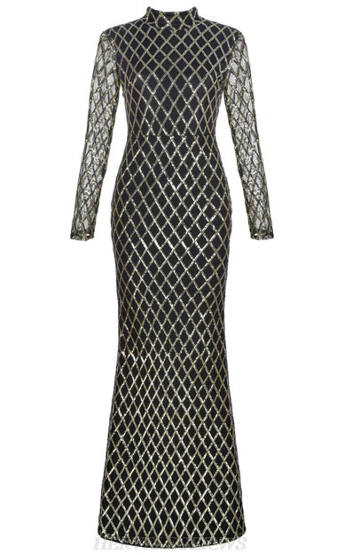 Herve Leger Black Gold Long Sleeve Sequin Mermaid Gown
