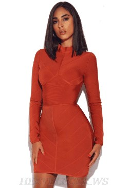 Herve Leger Rust Long Sleeve Structured Bandage Dress