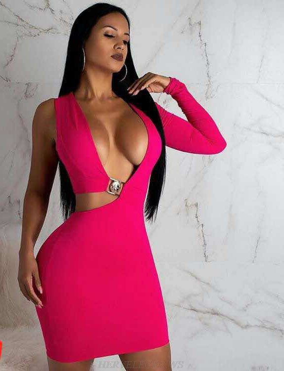 Herve Leger Pink One Sleeve Bandage Dress