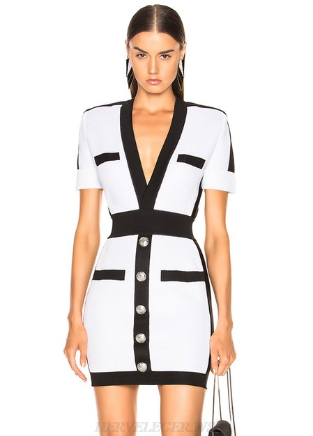 Herve Leger Black And White Short Sleeve Button Bandage Dress