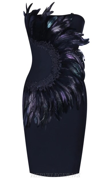 Herve Leger Black Bandeau Feather Strapless Bandage Dress