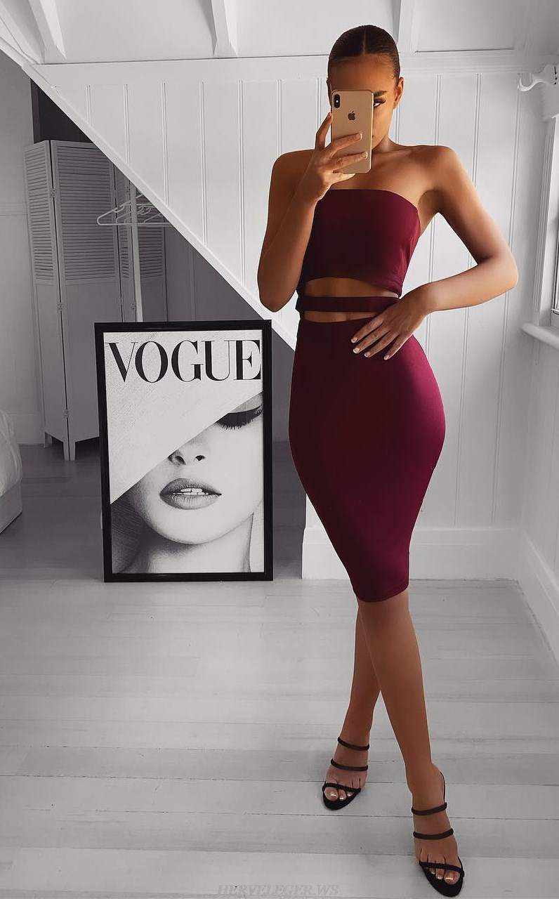 Herve Leger Burgundy Strapless Bandeau Bandage Dress
