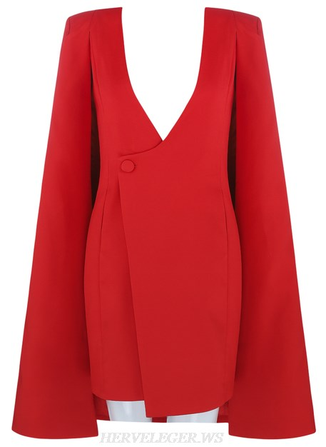 Herve Leger Red V Neck Cape Sleeve Plunge Blazer Dress