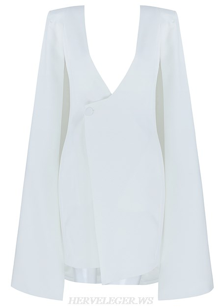 Herve Leger White V Neck Cape Sleeve Plunge Blazer Dress