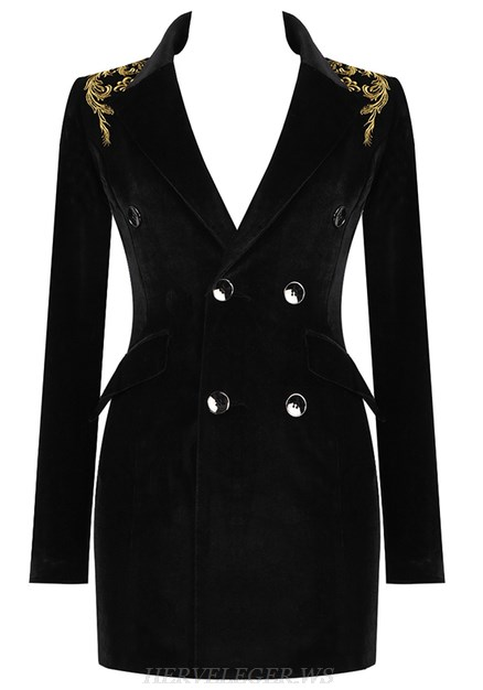 Herve Leger Black V Neck Embroidered Blazer Dress