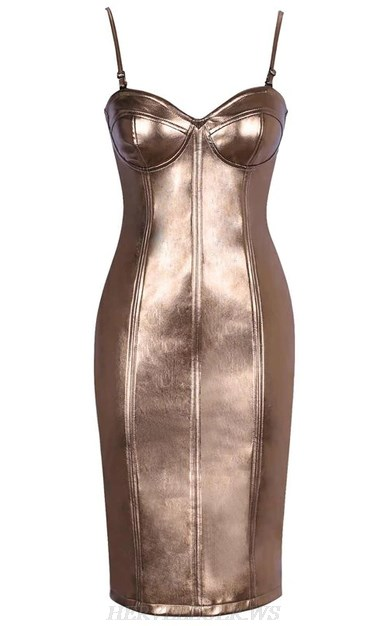Herve Leger Antique Gold Faux Leather Bustier Dress