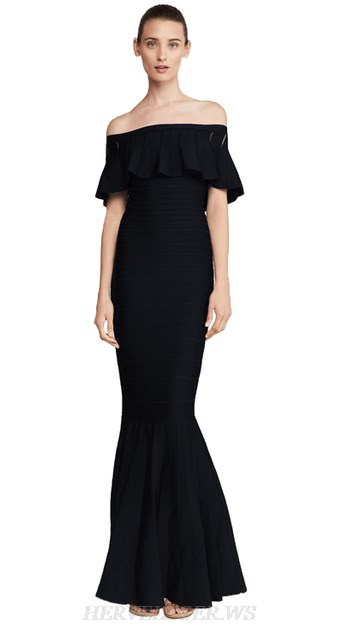 Herve Leger Black Strapless Frill Bardot Mermaid Gown