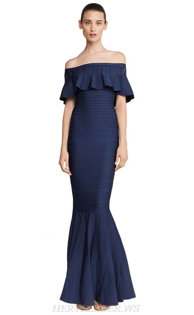 Herve Leger Blue Strapless Frill Bardot Mermaid Gown