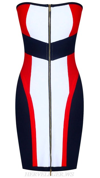 Herve Leger Black White Red Strapless Front Zipper Bandeau Bandage Dress