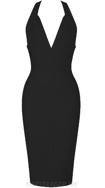 Herve Leger Black V Neck Halter Backless Bandage Dress